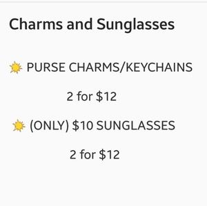 💥 SALE ON PURSE CHARMS & ONLY $10 SUNGLASSES 💥